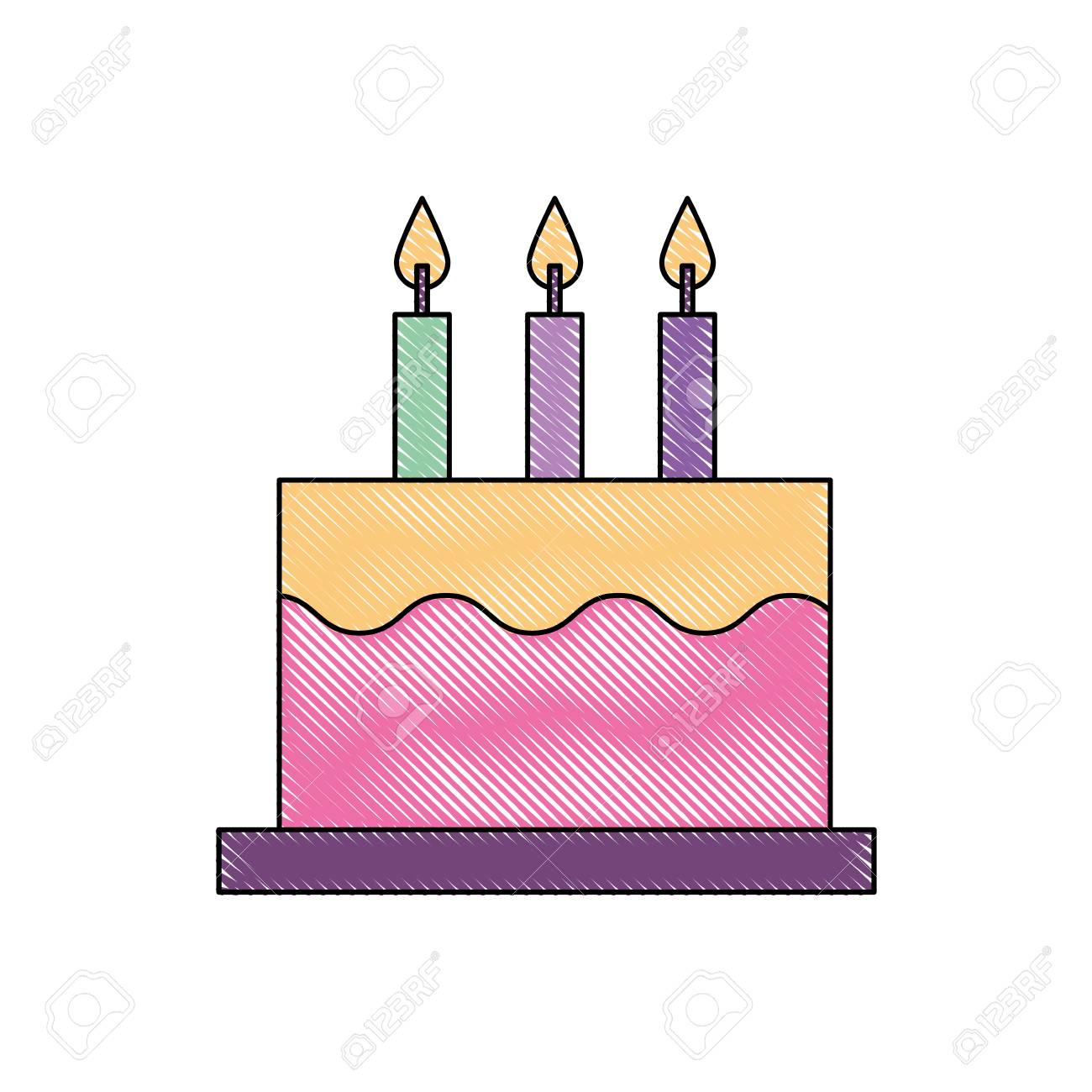 delicious birthday cake with three candles vector illustration