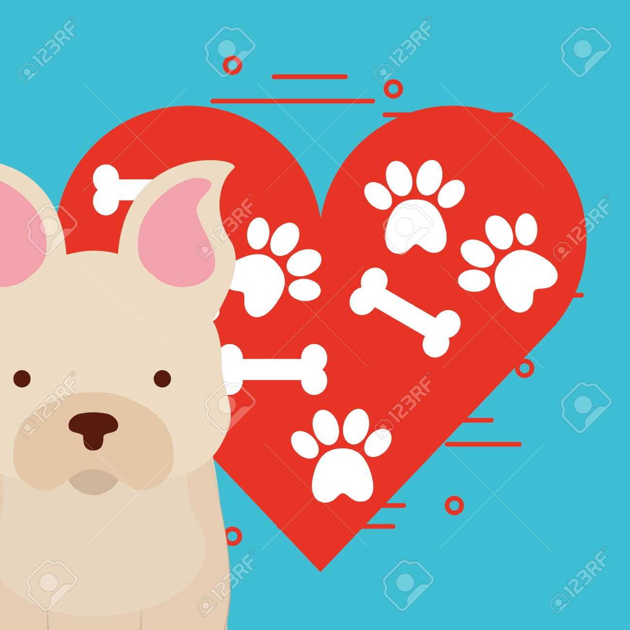 cute dog sitting with paw and bone heart love dog pet vector illustration Stock Vector -