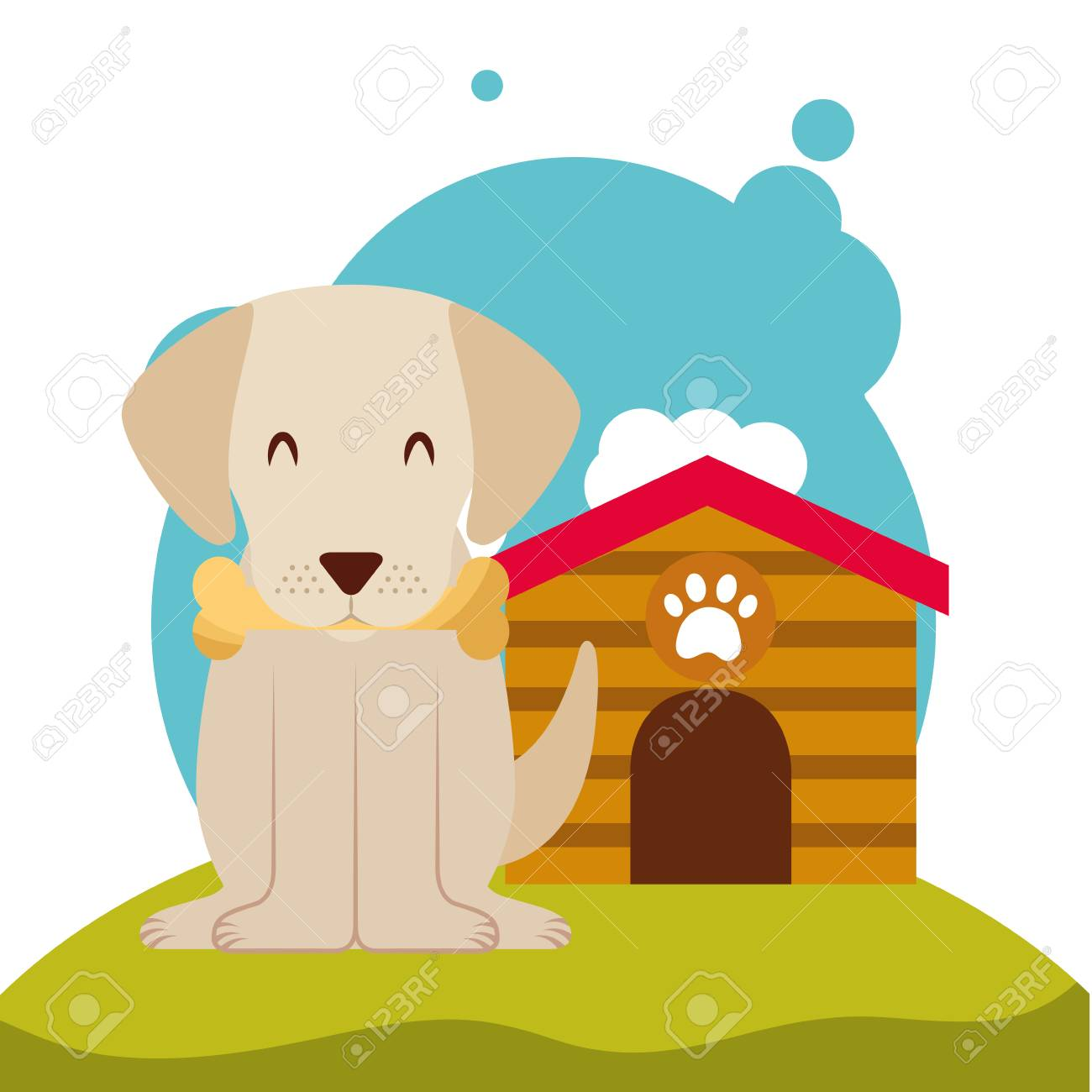 Cute Puppy Dog Bone In Mouth And Dog House In The Meadow Vector