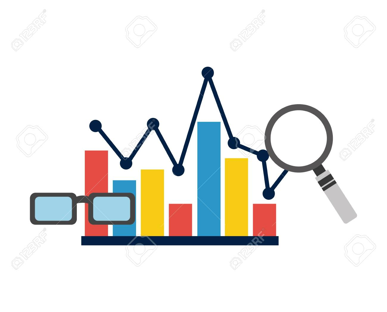 Statistics Bar Graph Pointed Line Analysis Vector Illustration Royalty Free  Cliparts, Vectors, And Stock Illustration. Image 97887018.