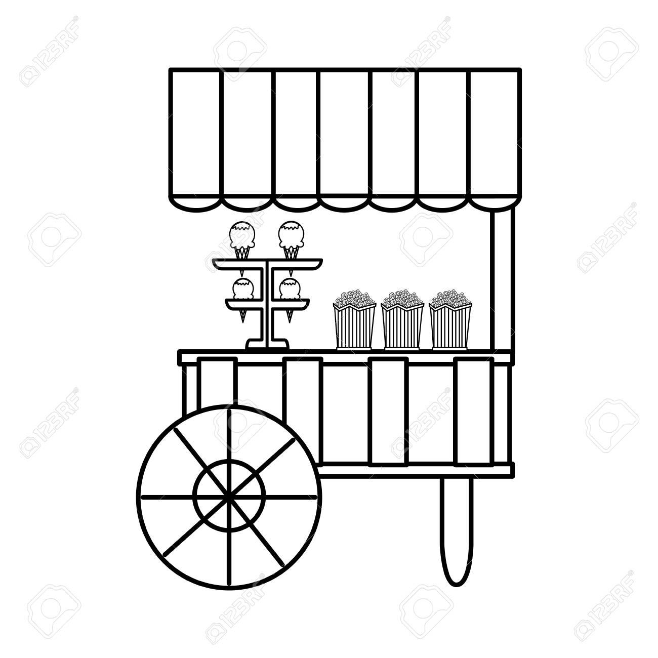Shop Cart Popcorn And Ice Cream Carnival Vector Illustration