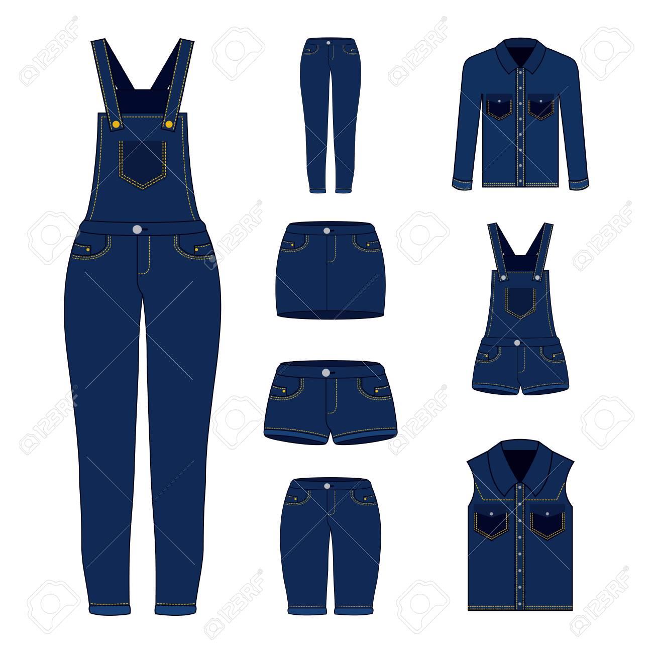 add30b1adcd4 denim women clothes set blue jean shorts overalls skirt jacket and vest  vector illustration Stock Vector