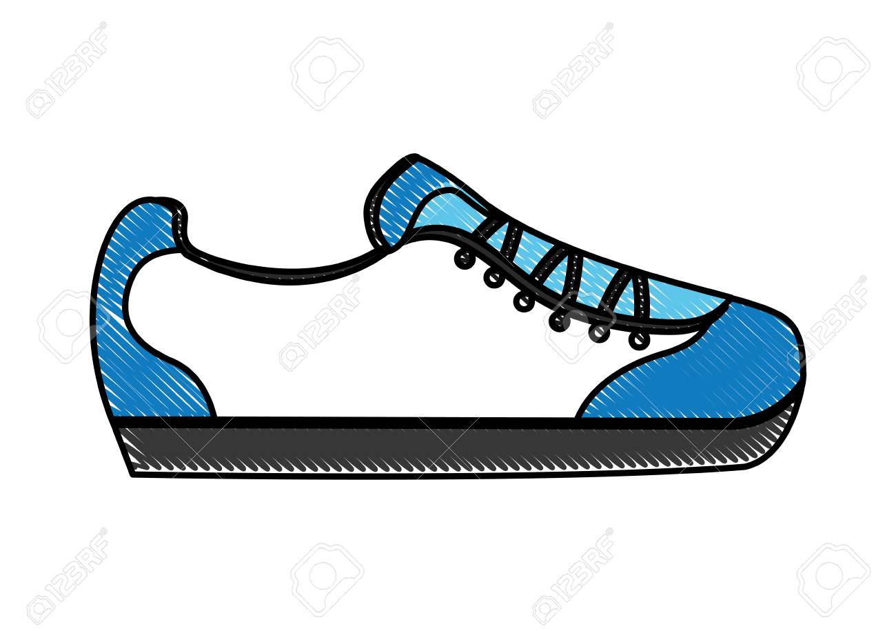 Cartoon Sneaker Sport Fashion Image Vector Illustration Drawing