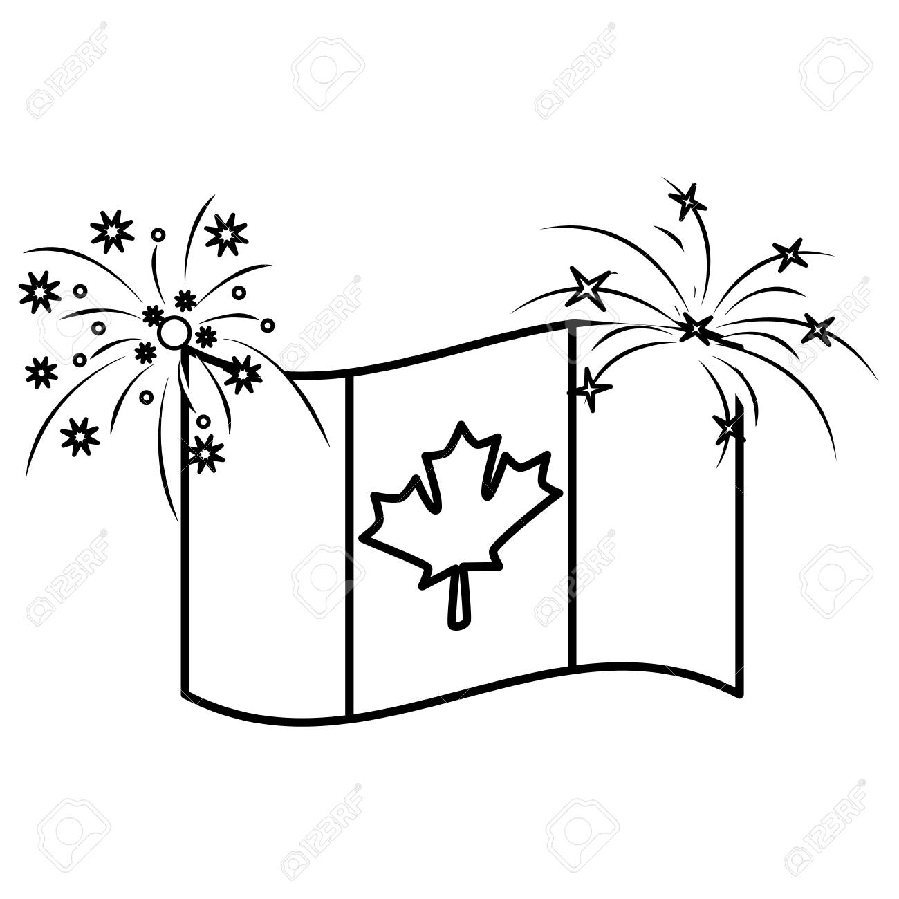 Canadian Flag Maple Leaf Waving With Firewokrs Vector Illustration