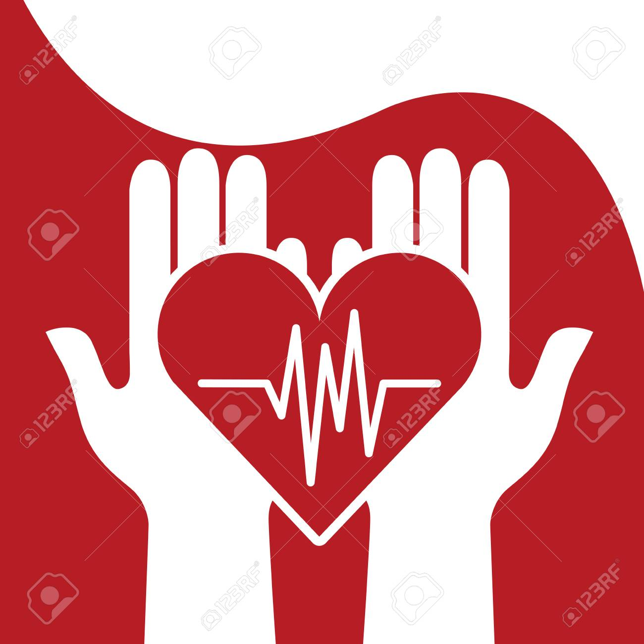 Blood donation day - hands holding a with a beat diagram.. on