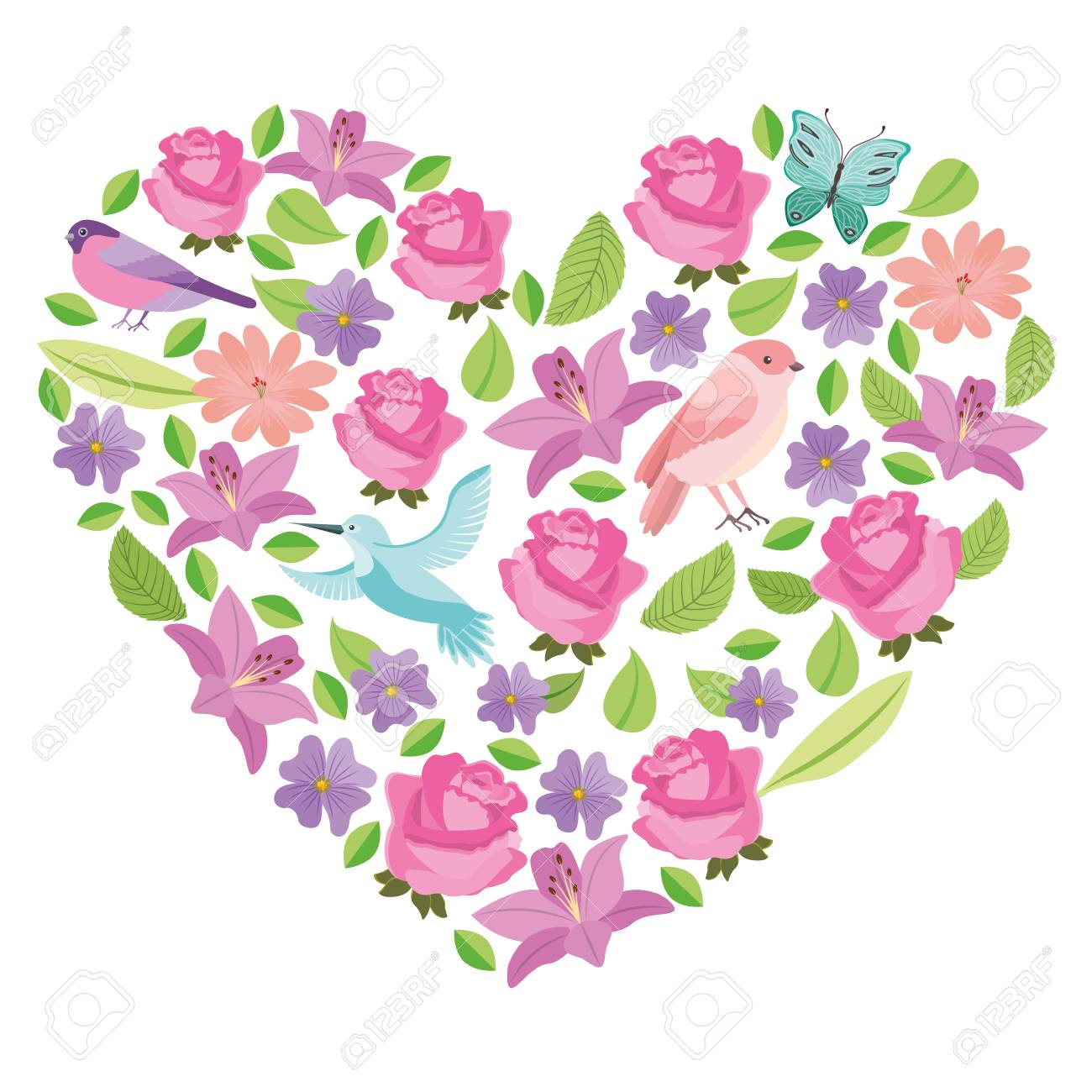 Flowers With Butterflies And Birds Pattern With Heart Shape Vector