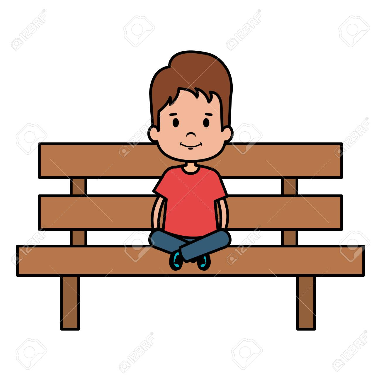 Tremendous Little Boy Sitting In Park Chair Character Vector Illustration Gmtry Best Dining Table And Chair Ideas Images Gmtryco
