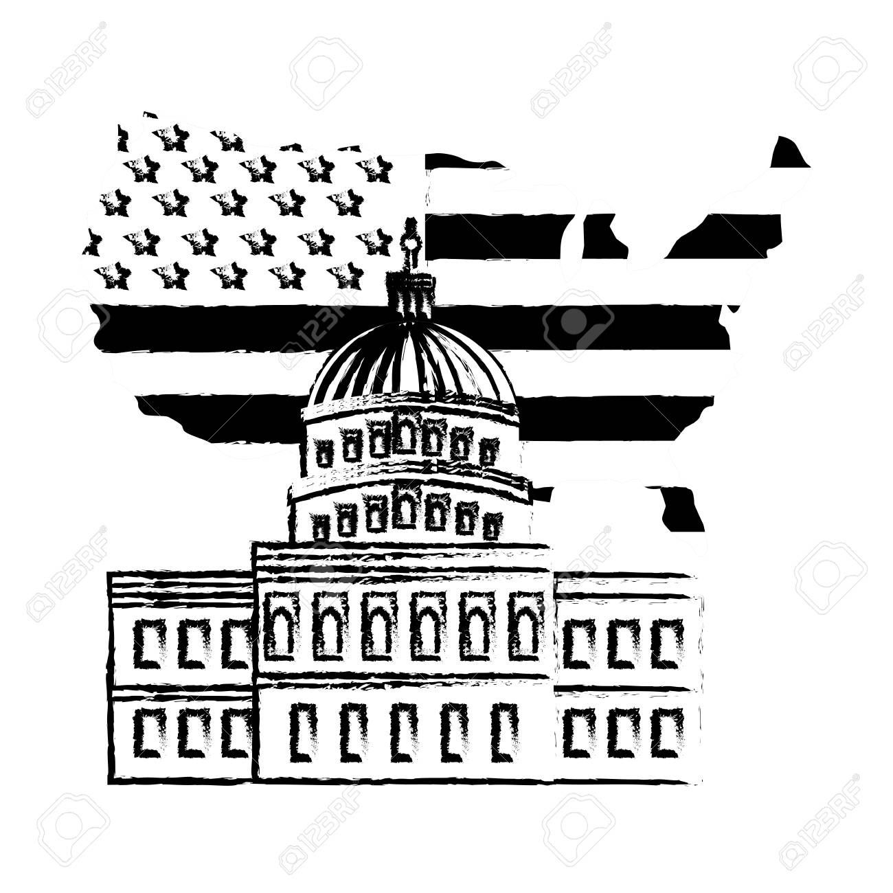 United States Capitol Building In Washington Flag On Map Vector - Map-of-the-us-capitol-building