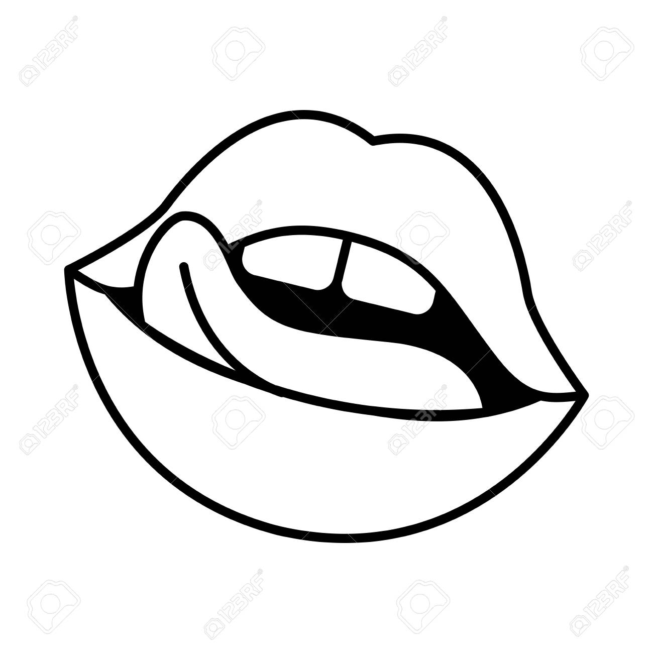 Mouth Icon Cartoon Black And White Stock Vector - Illustration of smile,  people: 149491979