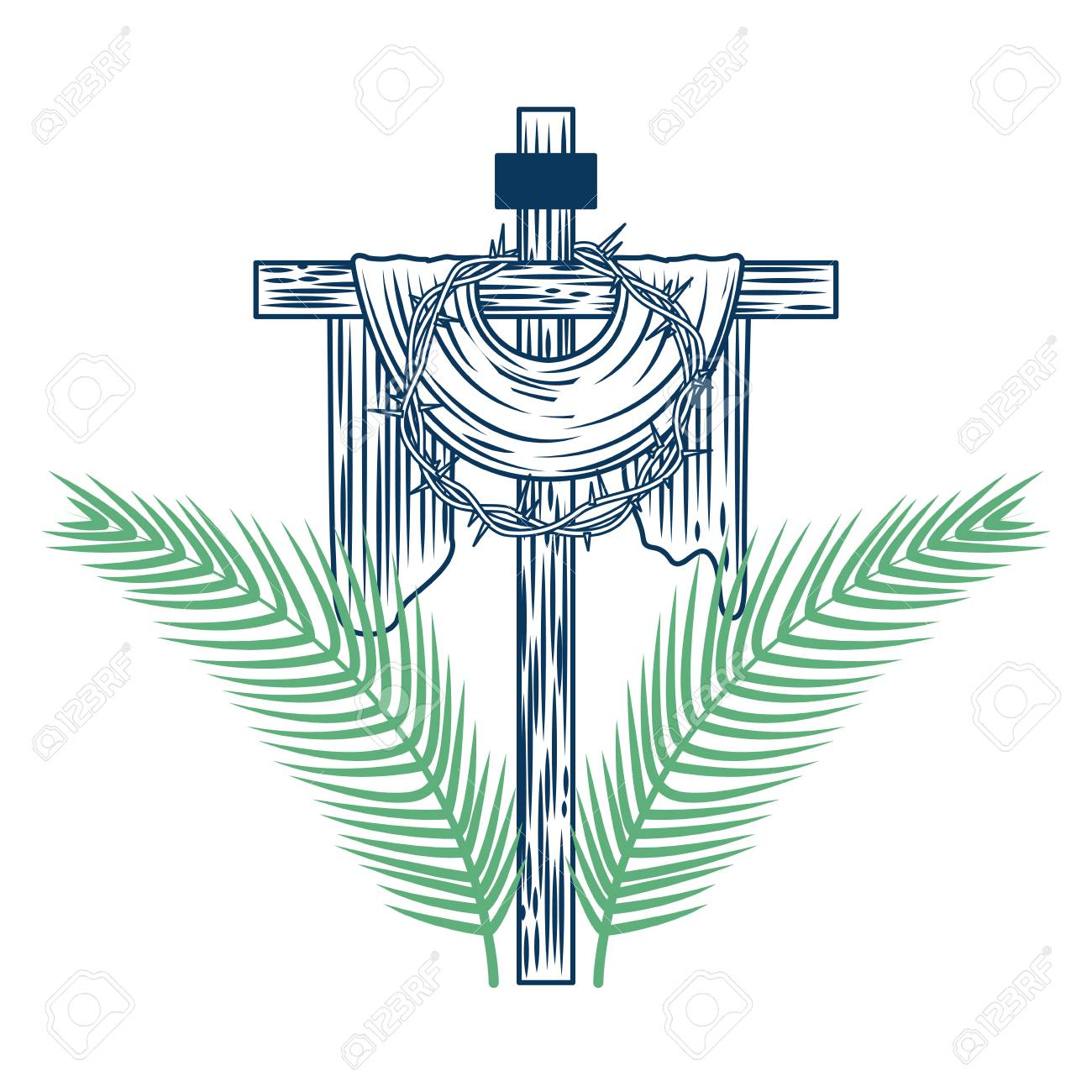 sacred cross crown of thorns tree palms vector illustration green and blue - 98874133