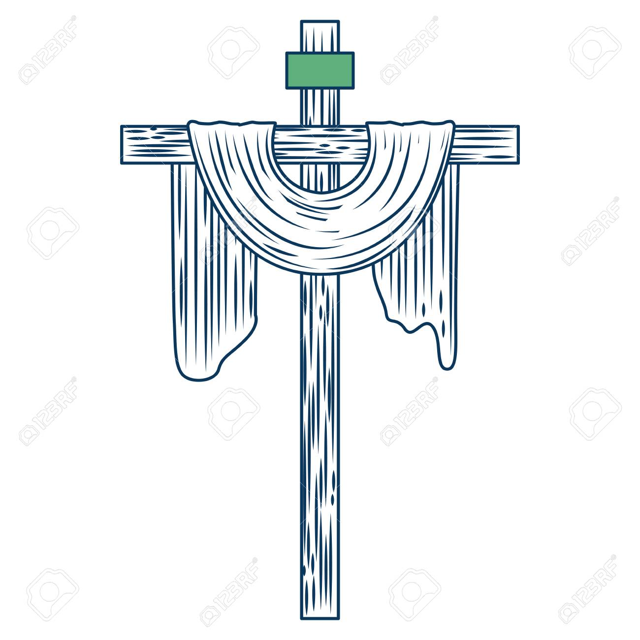 sacred cross christianity symbol icon vector illustration green and blue - 98874136