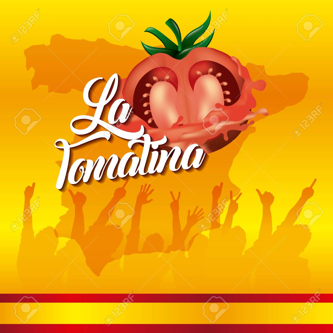 la tomatina yellow background festival people hands up vector illustration - 98790637