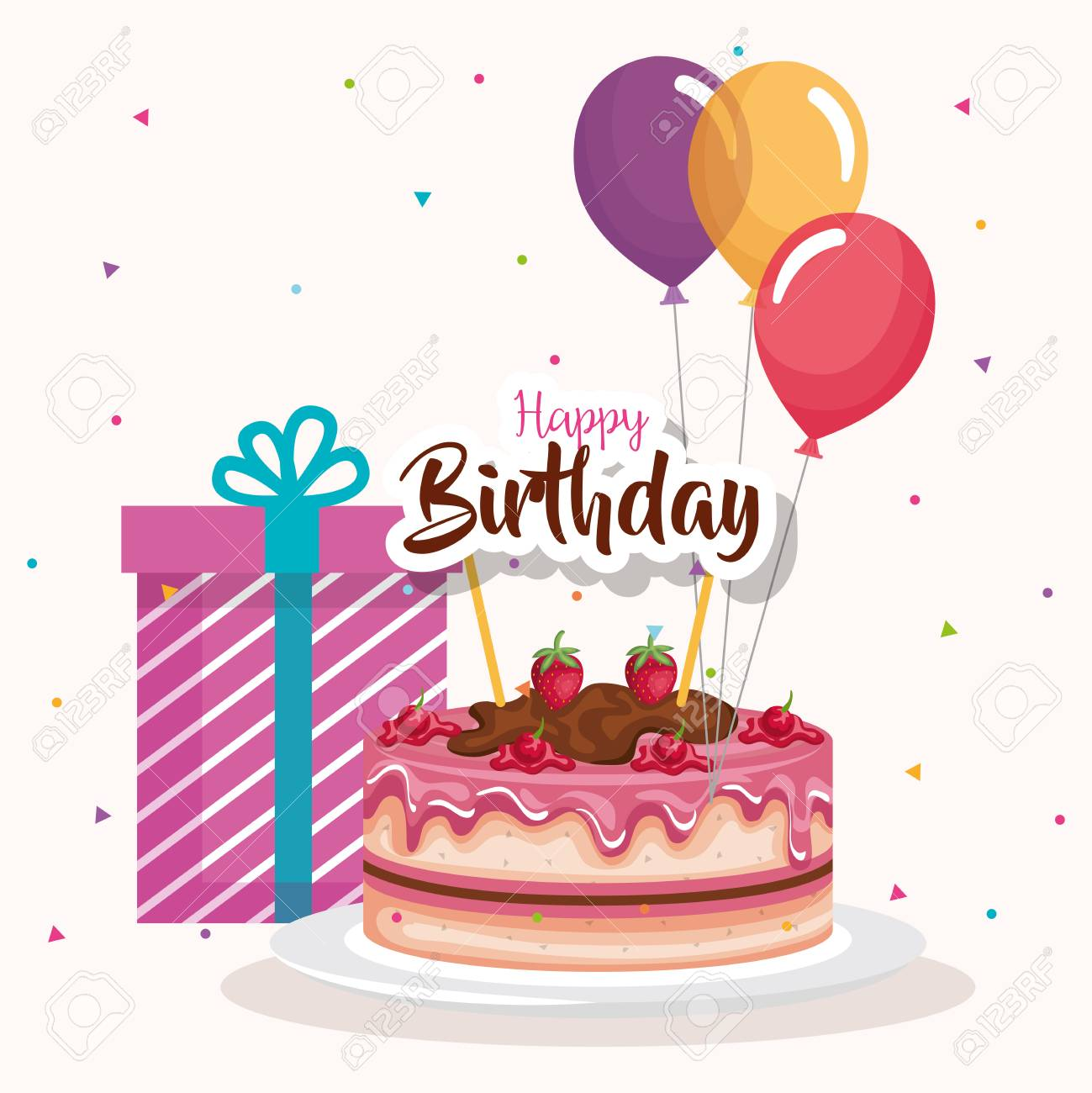 Happy Birthday Cake With Balloons Air Celebration Card Vector Illustration Design Stock