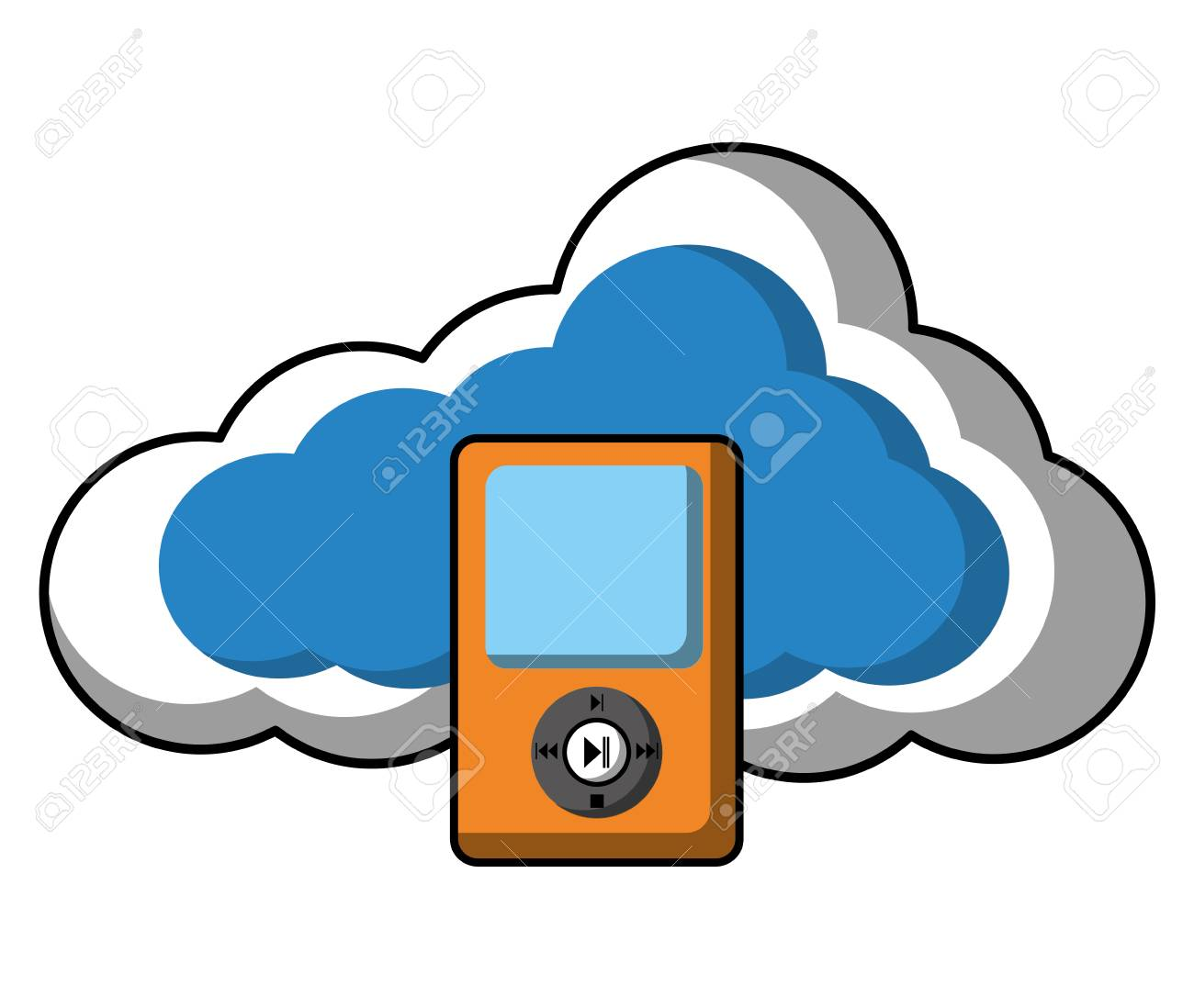 Cloud computing with music player vector illustration design