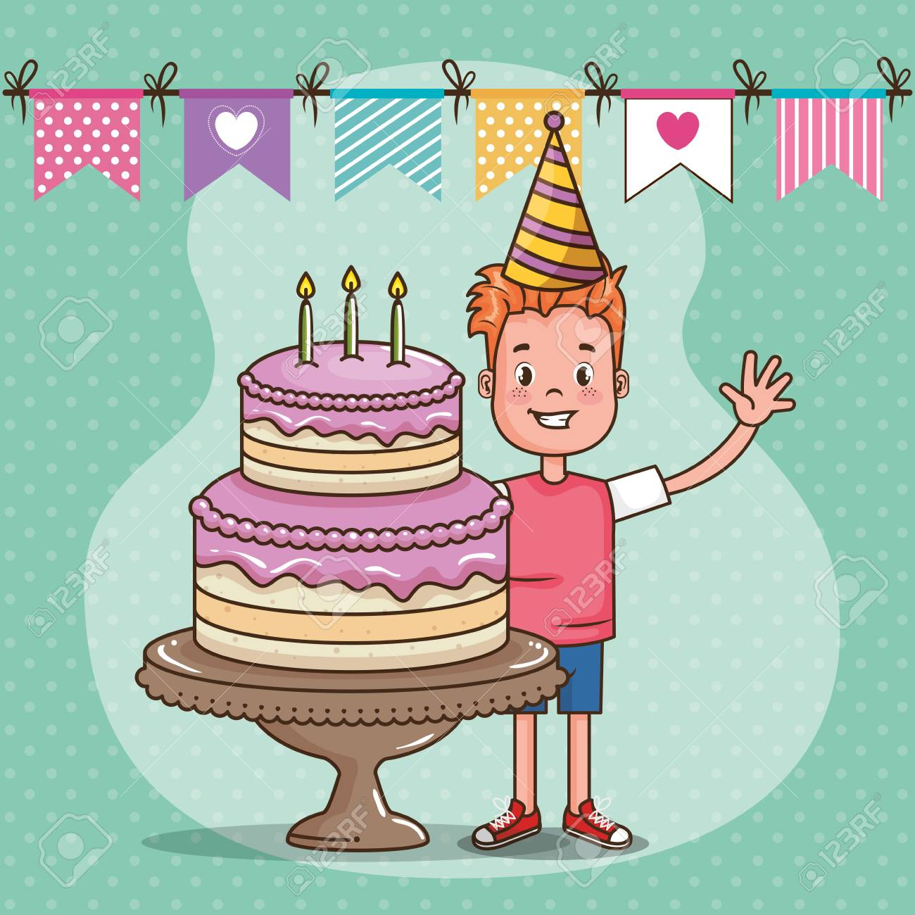 Strange Happy Birthday Card With Little Boy Vector Illustration Design Funny Birthday Cards Online Kookostrdamsfinfo