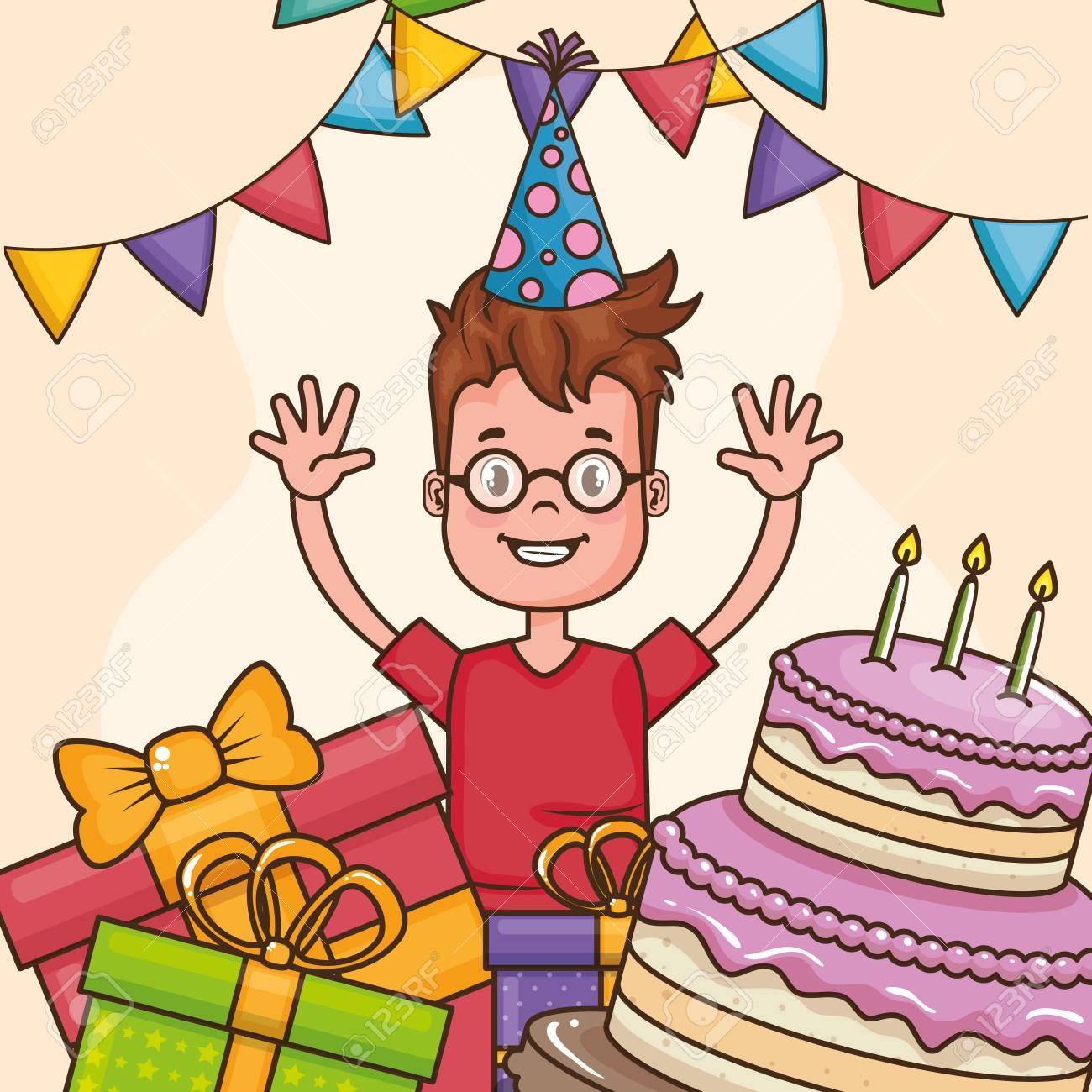 Marvelous Happy Birthday Card With Little Boy Vector Illustration Design Funny Birthday Cards Online Kookostrdamsfinfo