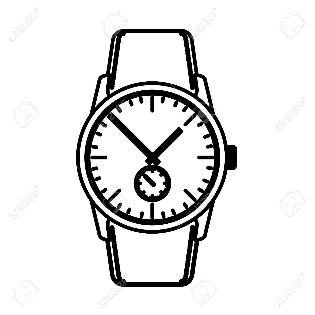 wrist watch time clock elegance image vector illustration outline rh 123rf com watch victoria watch victoria's secret