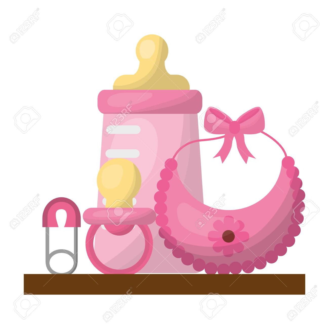 baby shower gifts girl bottle bib pacifier safety pin vector