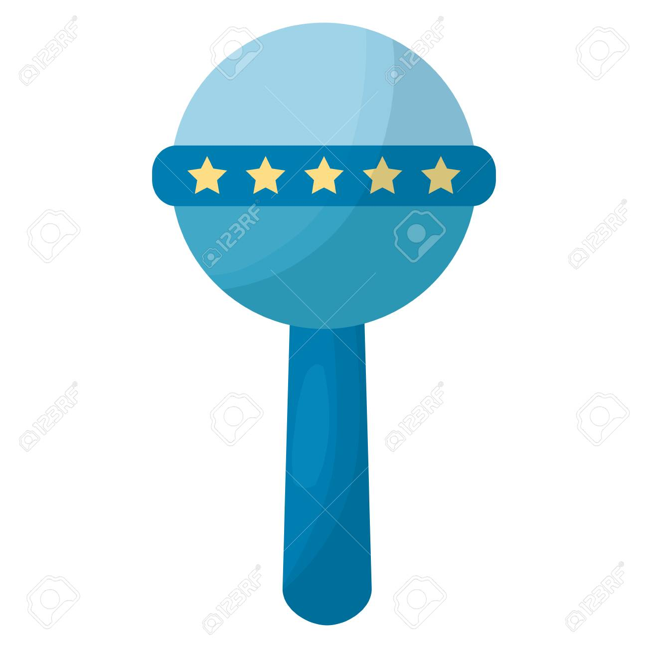 blue baby rattle handle star decoration vector illustration royalty