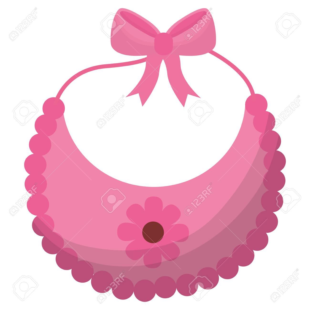 Pink Flower Bib Girl Baby Shower Vector Illustration Royalty Free