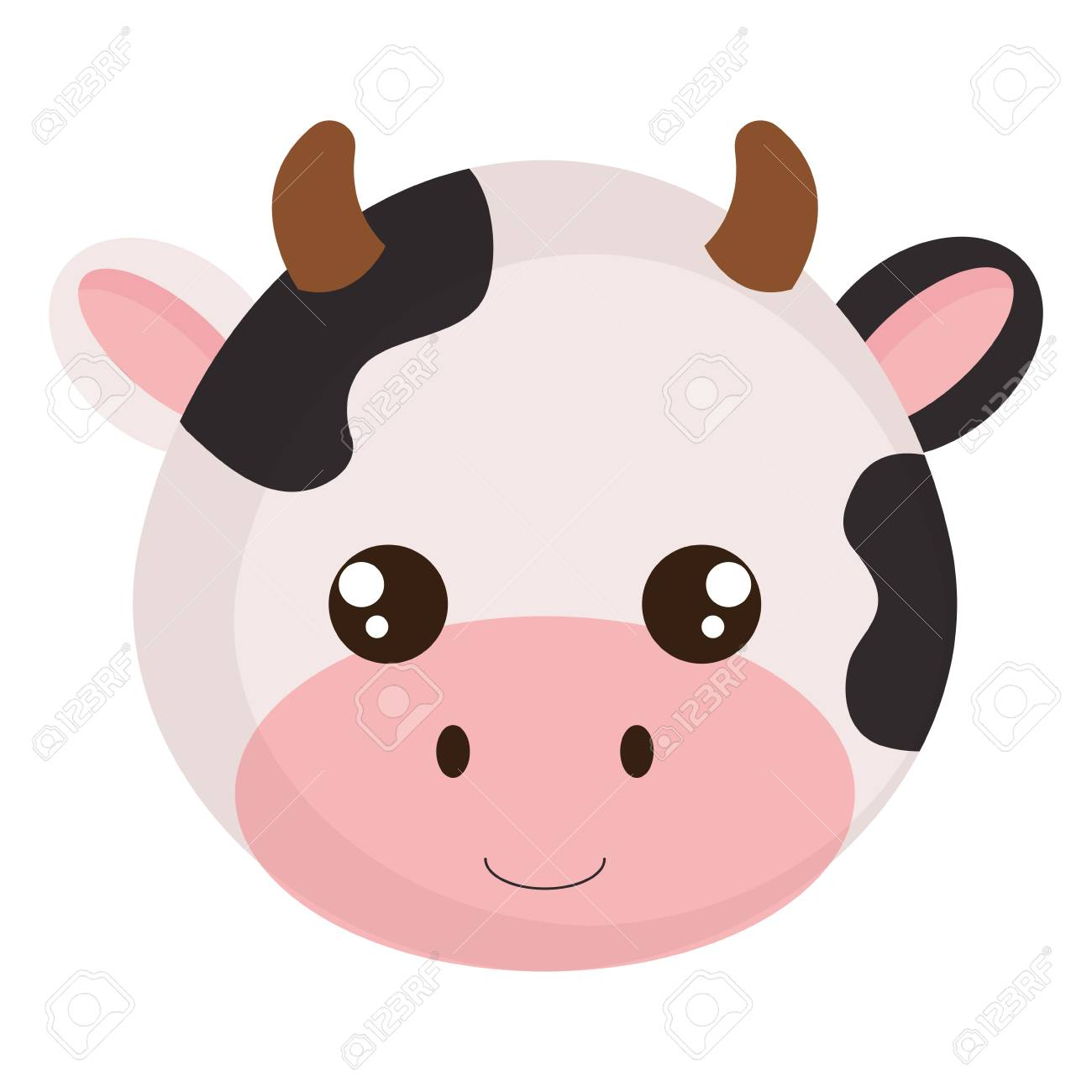 cute and little cow head character vector illustration design - 99651994