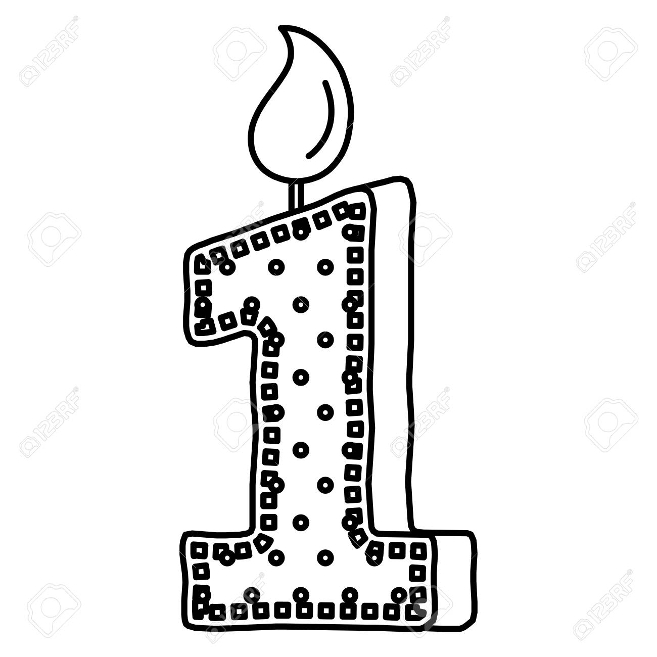 Birthday Candle With Number One Vector Illustration Design Stock