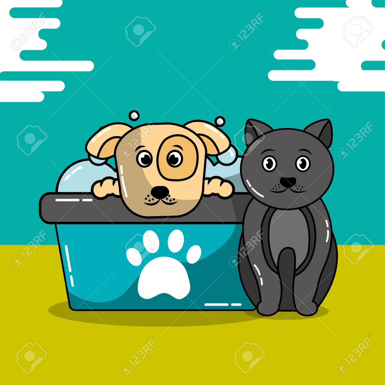 Pet Cat And Dog Grooming Bathtub Shampoo Vector Illustration Royalty ...