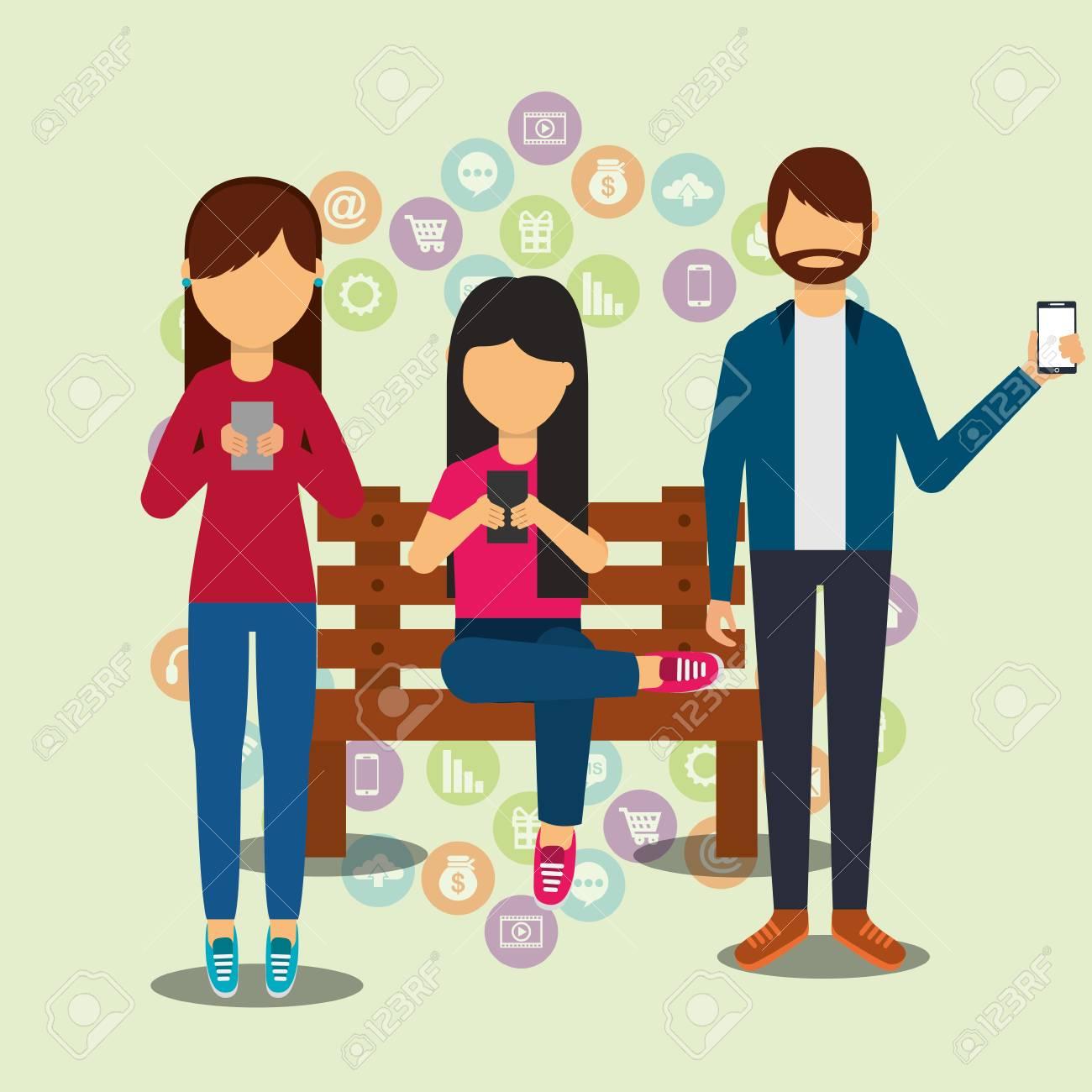 people social media user smartphones technology digital vector illustration - 99749322