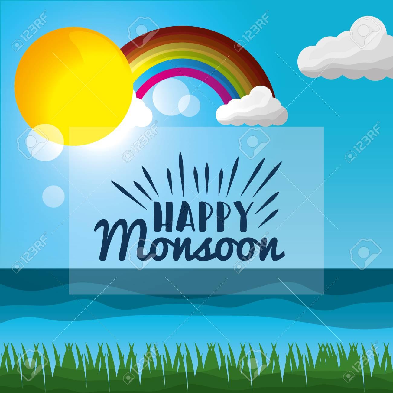 Happy Monsoon Season Colored Rainbow Sunshine Day Cloud Blur