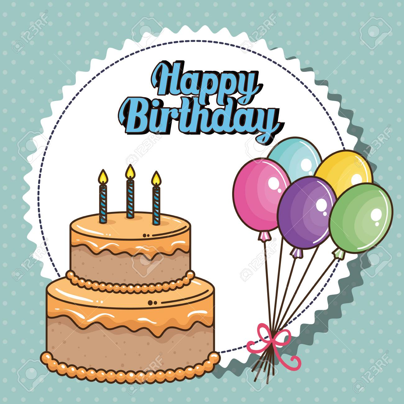 Happy Birthday Card With Sweet Cake Vector Illustration Design Stock