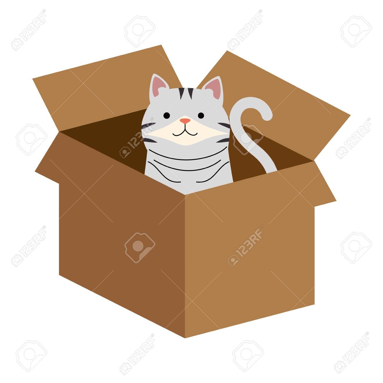 A cute cat in carton box vector illustration design - 99889545