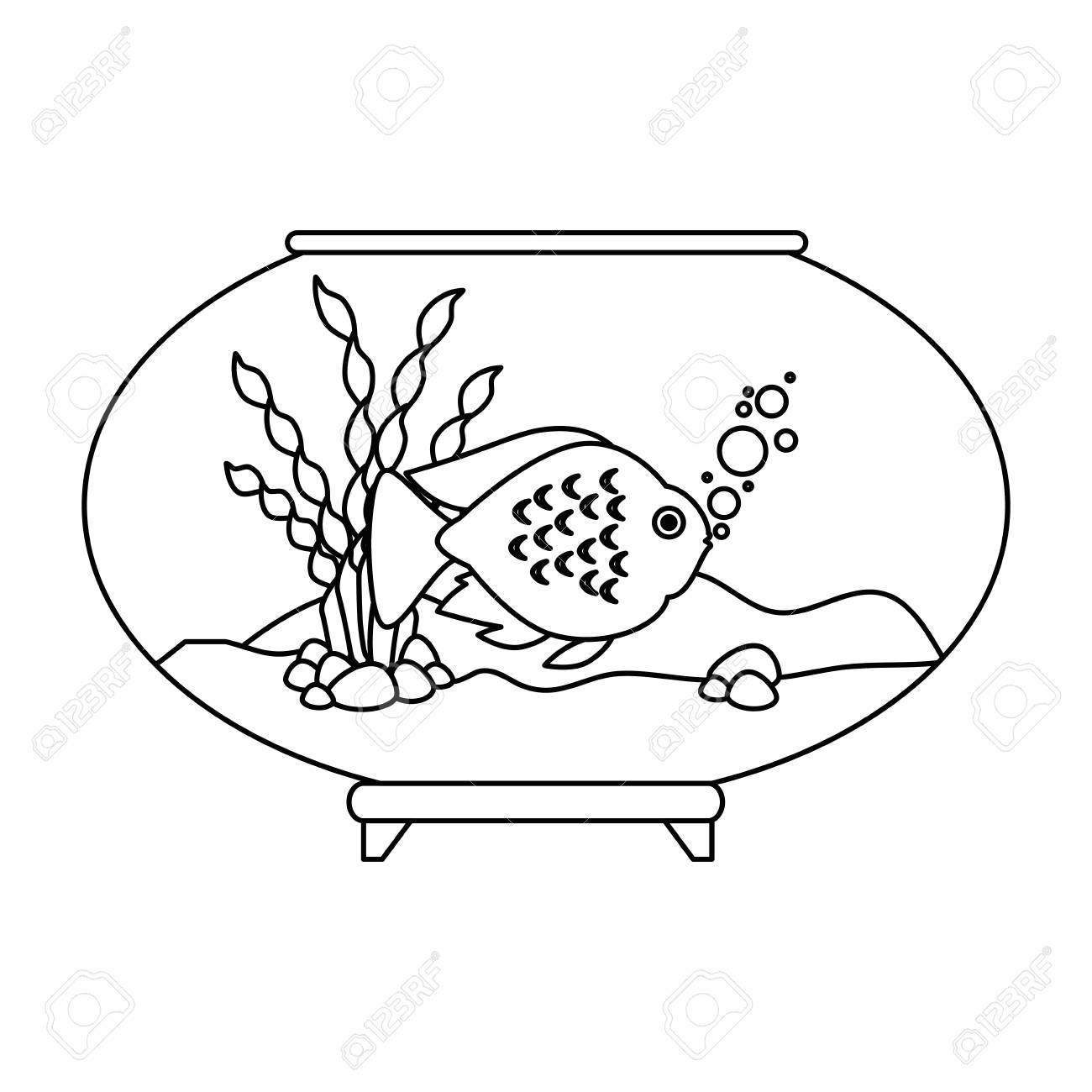 Aquarium Bowl With Outline Fish Vector Illustration Design Royalty Free Cliparts Vectors And Stock Illustration Image 99887363