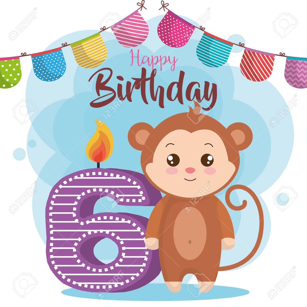 Happy Birthday Card With Monkey Vector Illustration Design Stock