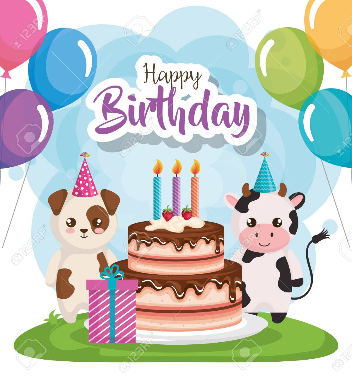 Happy Birthday Card With Group Of Animals Vector Illustration Design Stock
