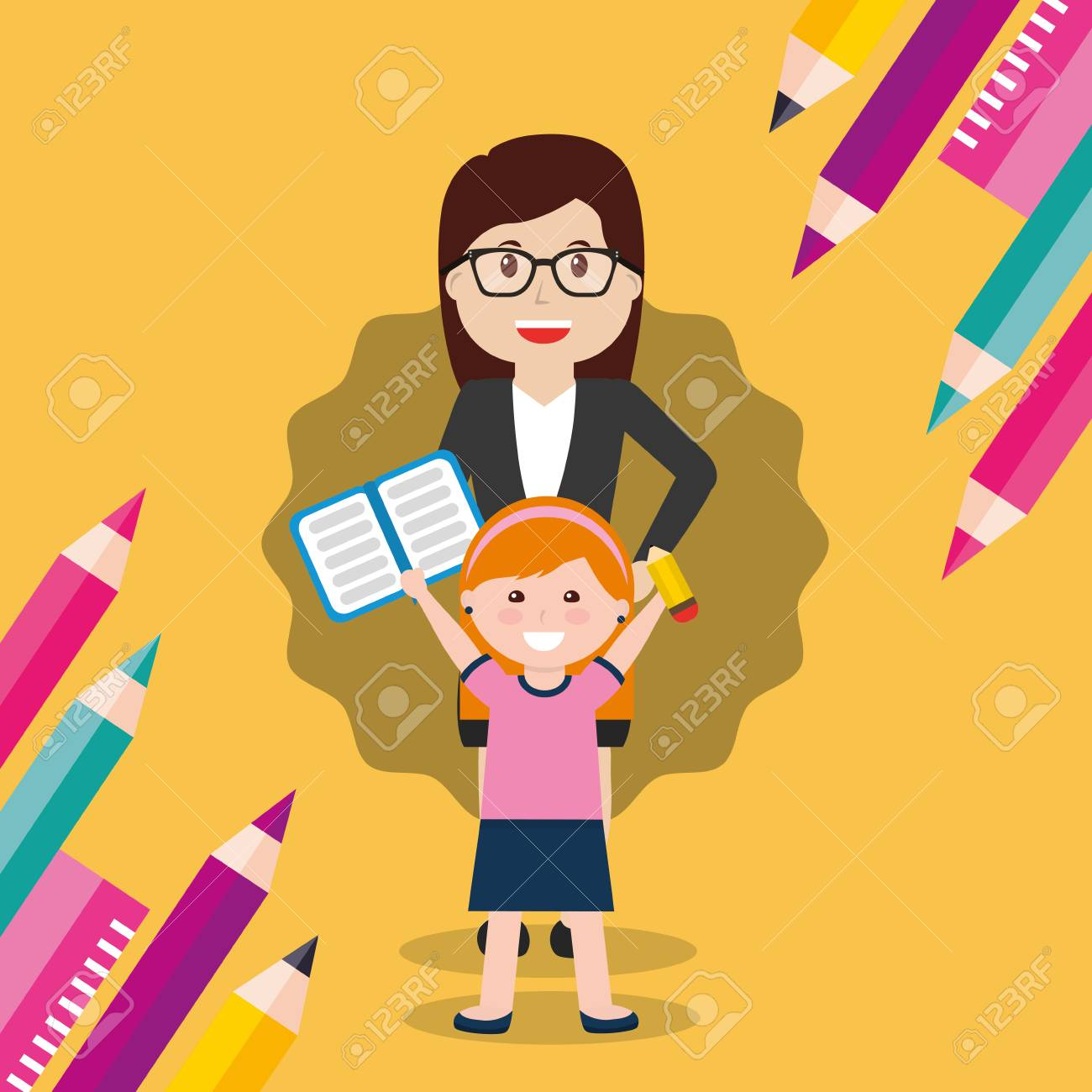13d410625f Illustration school teacher woman and little girl student with book pencil  vector illustration jpg 1300x1300 Little
