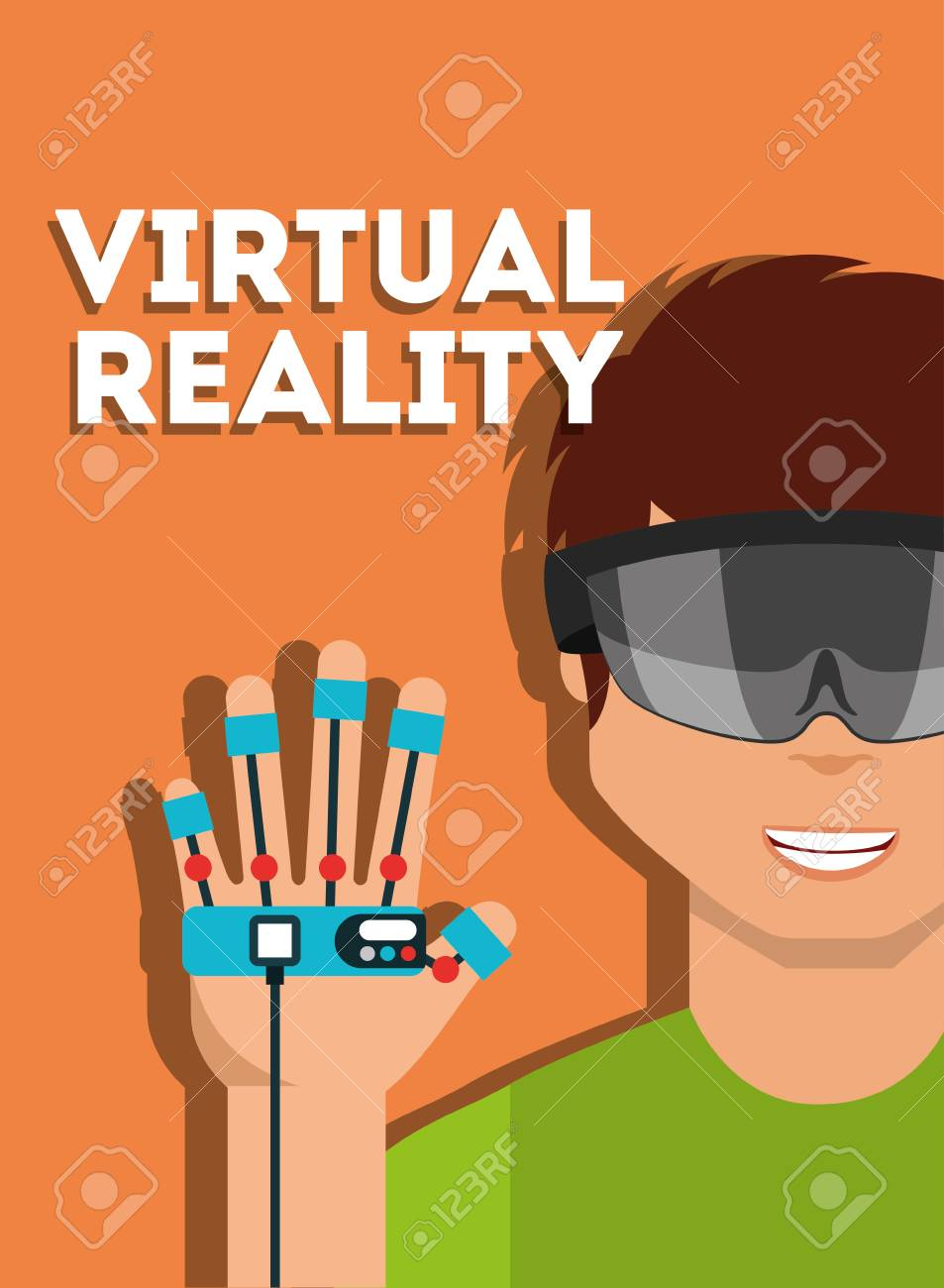 6d72b7e00ab0 young man with virtual reality goggles and glove controller vector  illustration Stock Vector - 100175447