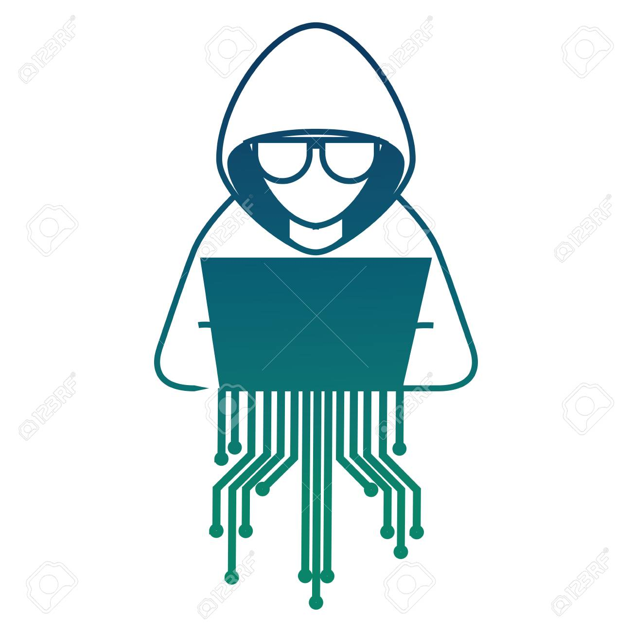 cyber security hacker character with laptop vector illustration royalty free cliparts vectors and stock illustration image 100195525 cyber security hacker character with laptop vector illustration