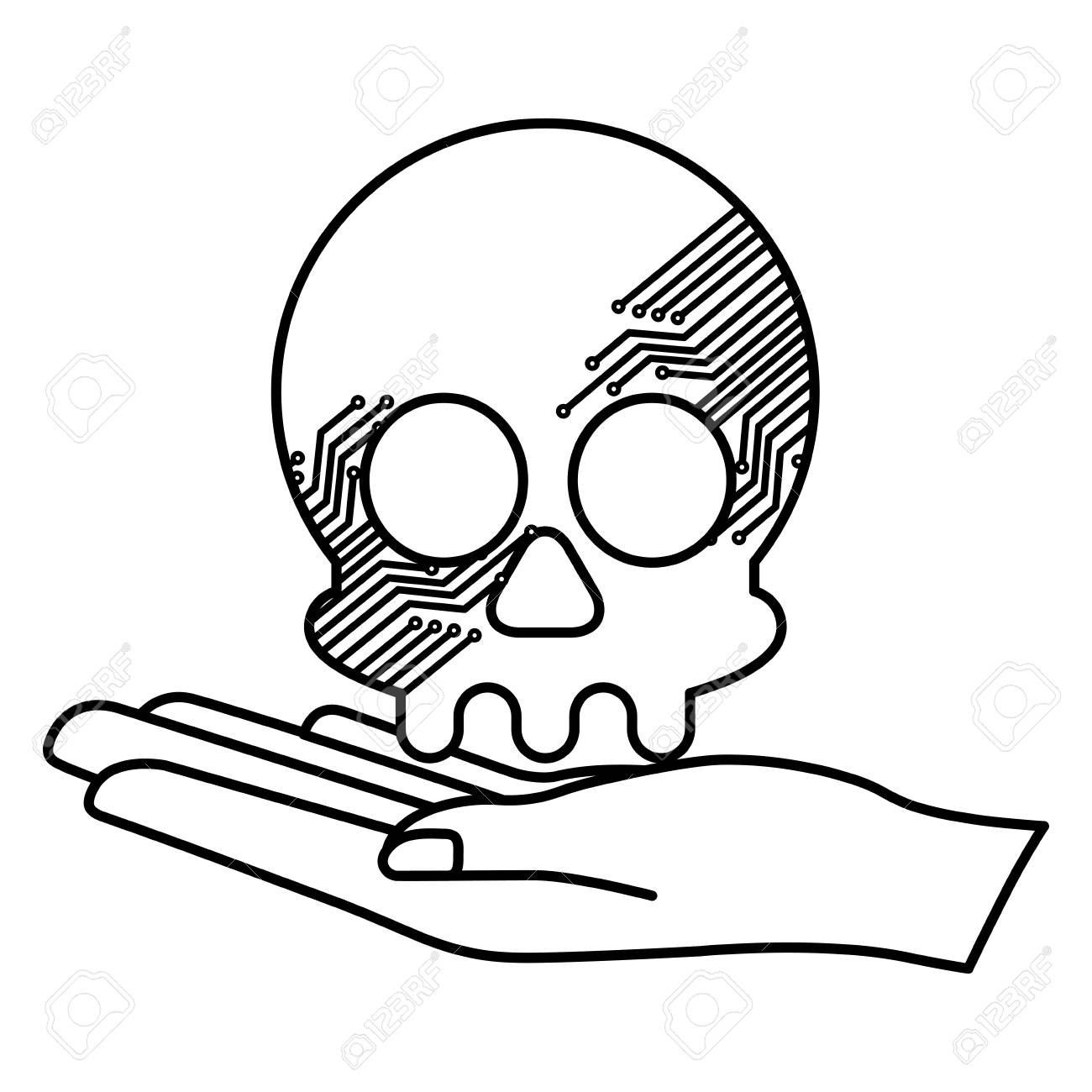 Hand Lifting Skull With Electric Circuit Vector Illustration ...