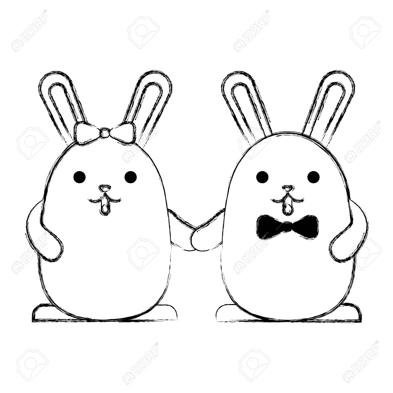 Cute Couple Rabbits Holding Hands Vector Illustration Sketch
