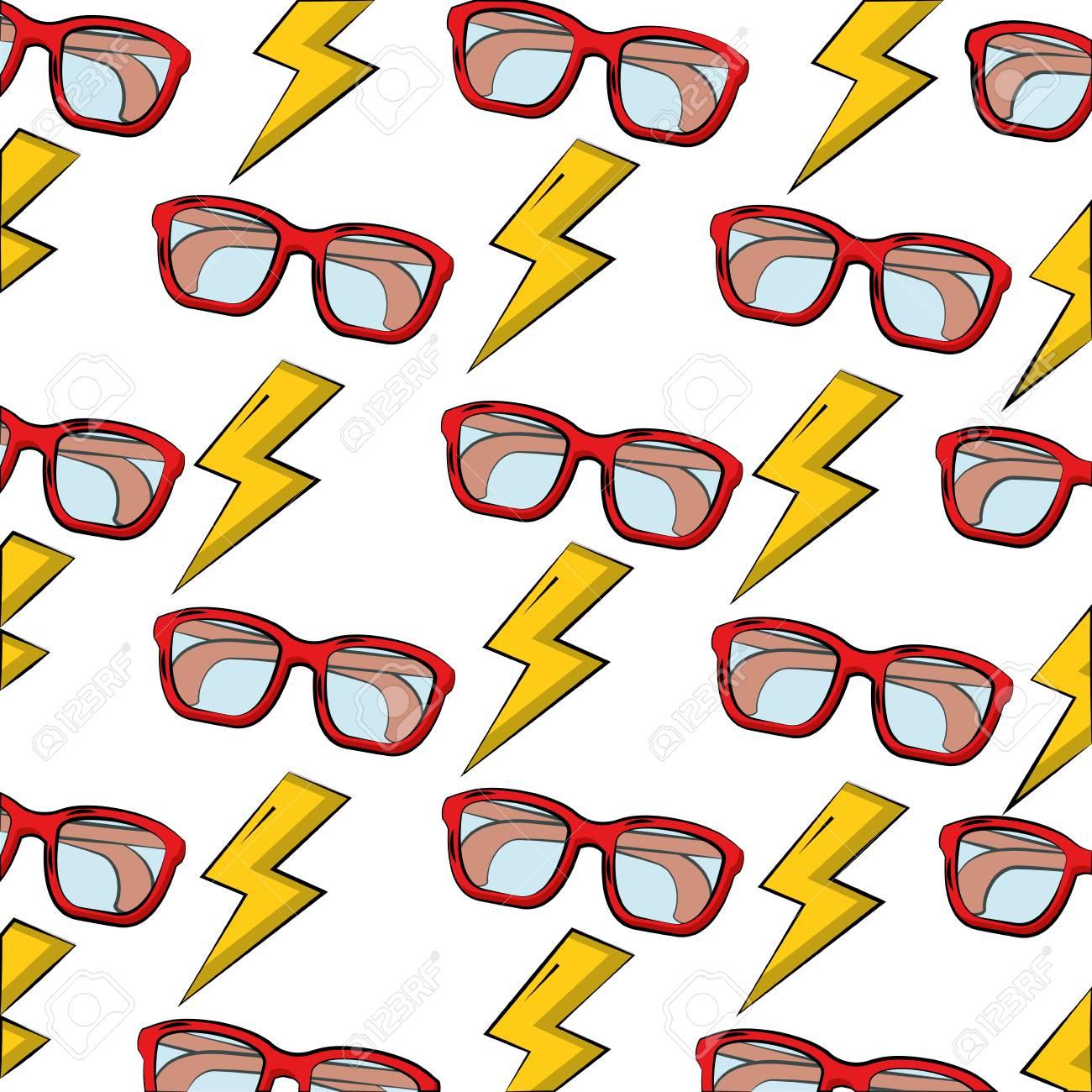 eye glasses with thunders pattern vector illustration design - 100453094