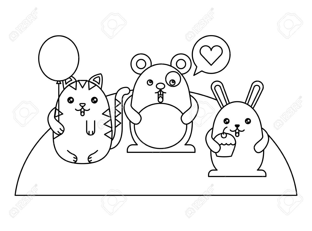 cute animals with speech bubble and helium ballon kawaii character