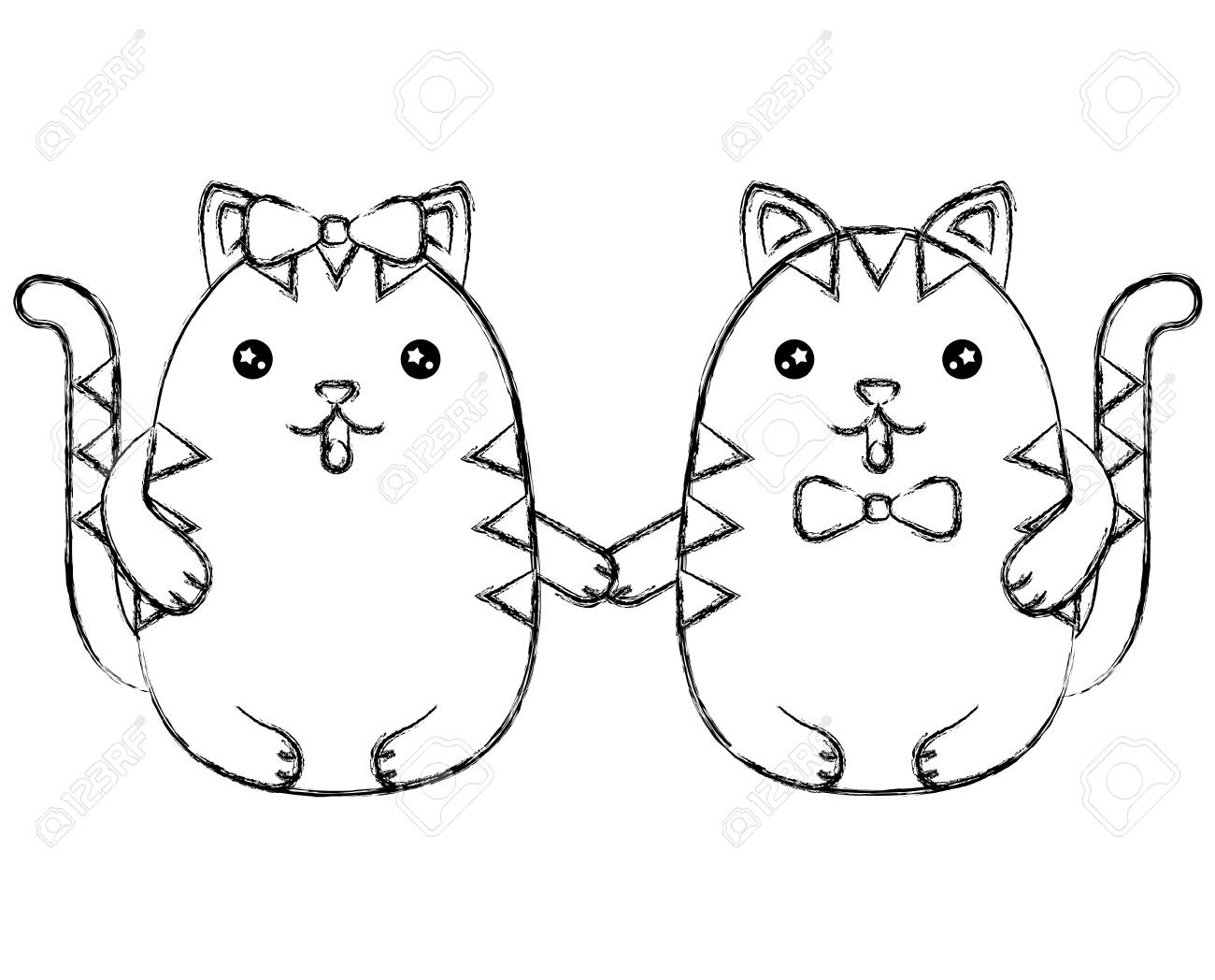 Cute couple kittys holding hands vector illustration vector illustration sketch stock vector 100463181