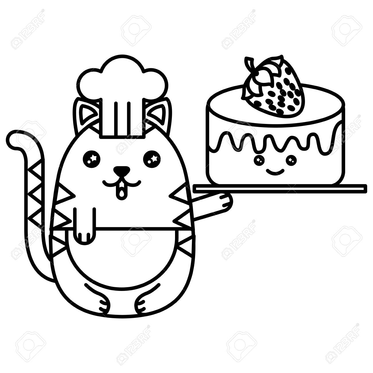 cute cat chef with delicious cake and fruit strawberry character Cat Cake Pan cute cat chef with delicious cake and fruit strawberry character vector illustration design stock vector