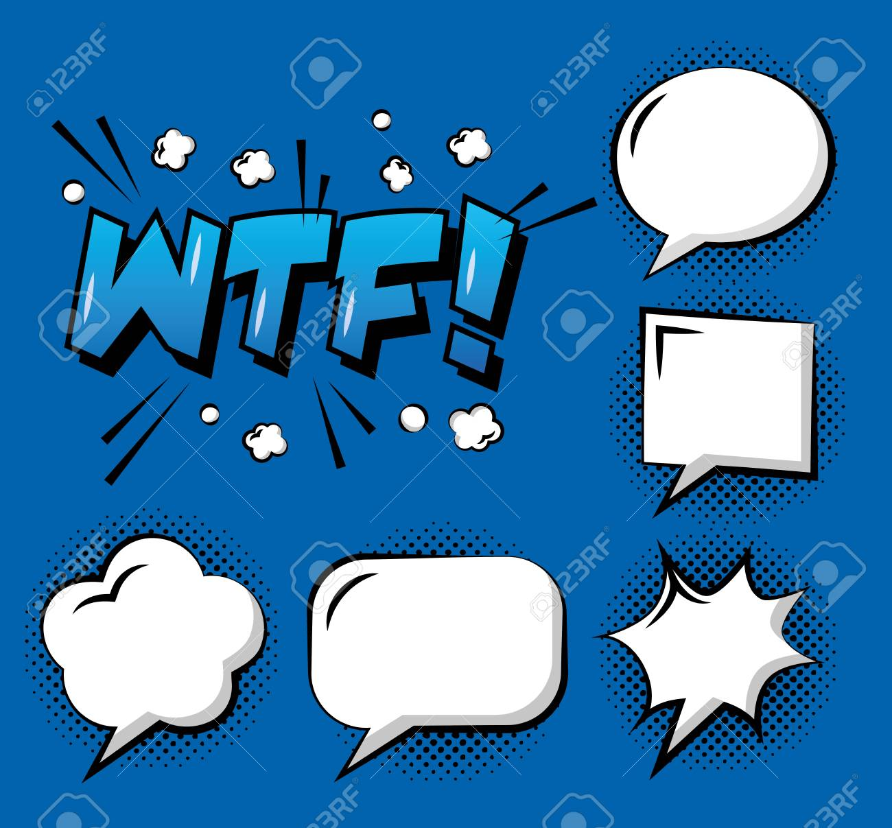 Set Of Comic Pop Art Speech Bubbles Wtf Cloud Explosion Template ...