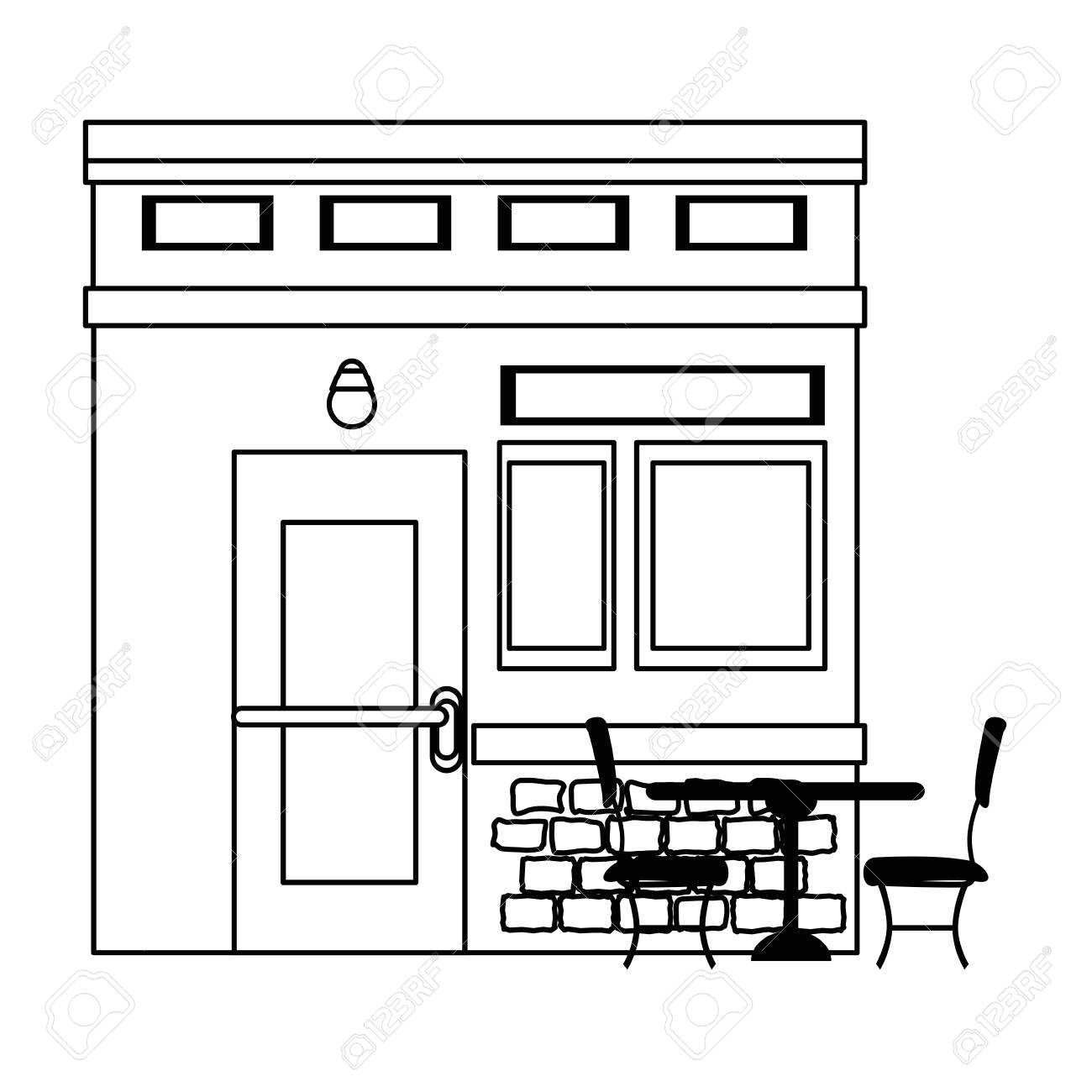 Restaurant Building Front Facade Vector Illustration Design Royalty Free Cliparts Vectors And Stock Illustration Image 100618097