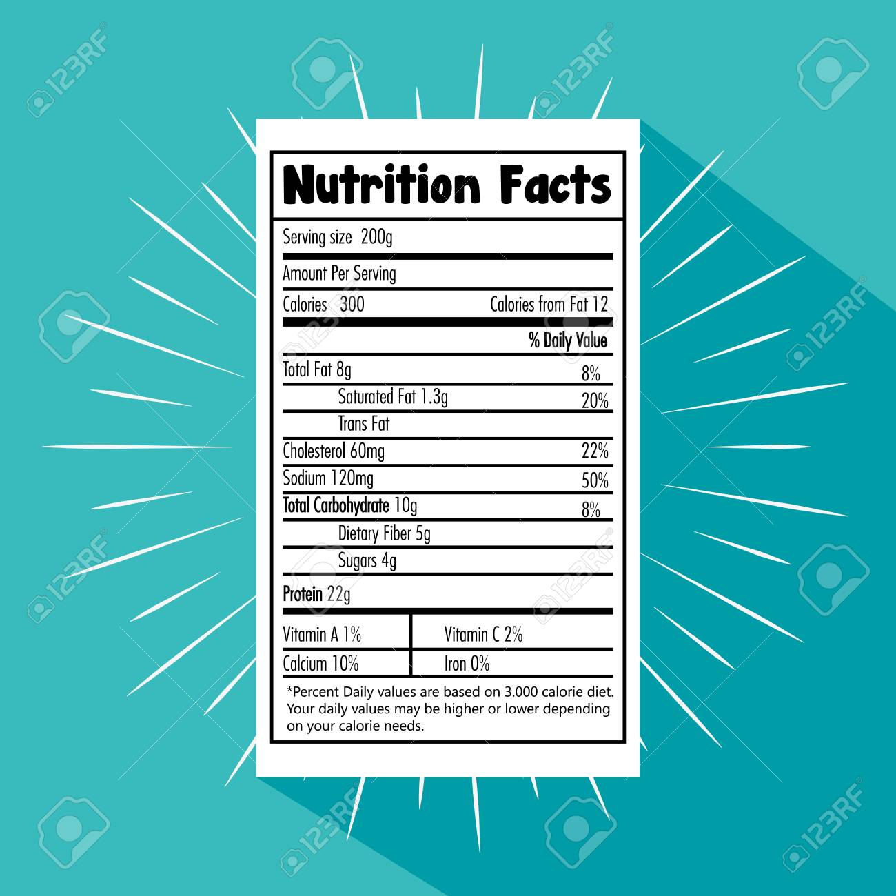 Paper with nutrition facts vector illustration design - 100735066
