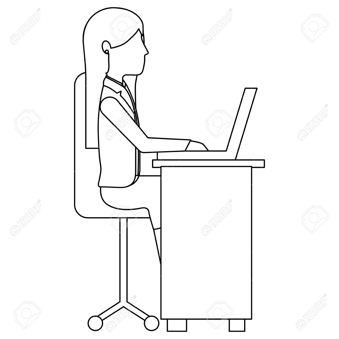 Cool Young Woman In Office Chair And Desk Avatar Character Vector Creativecarmelina Interior Chair Design Creativecarmelinacom