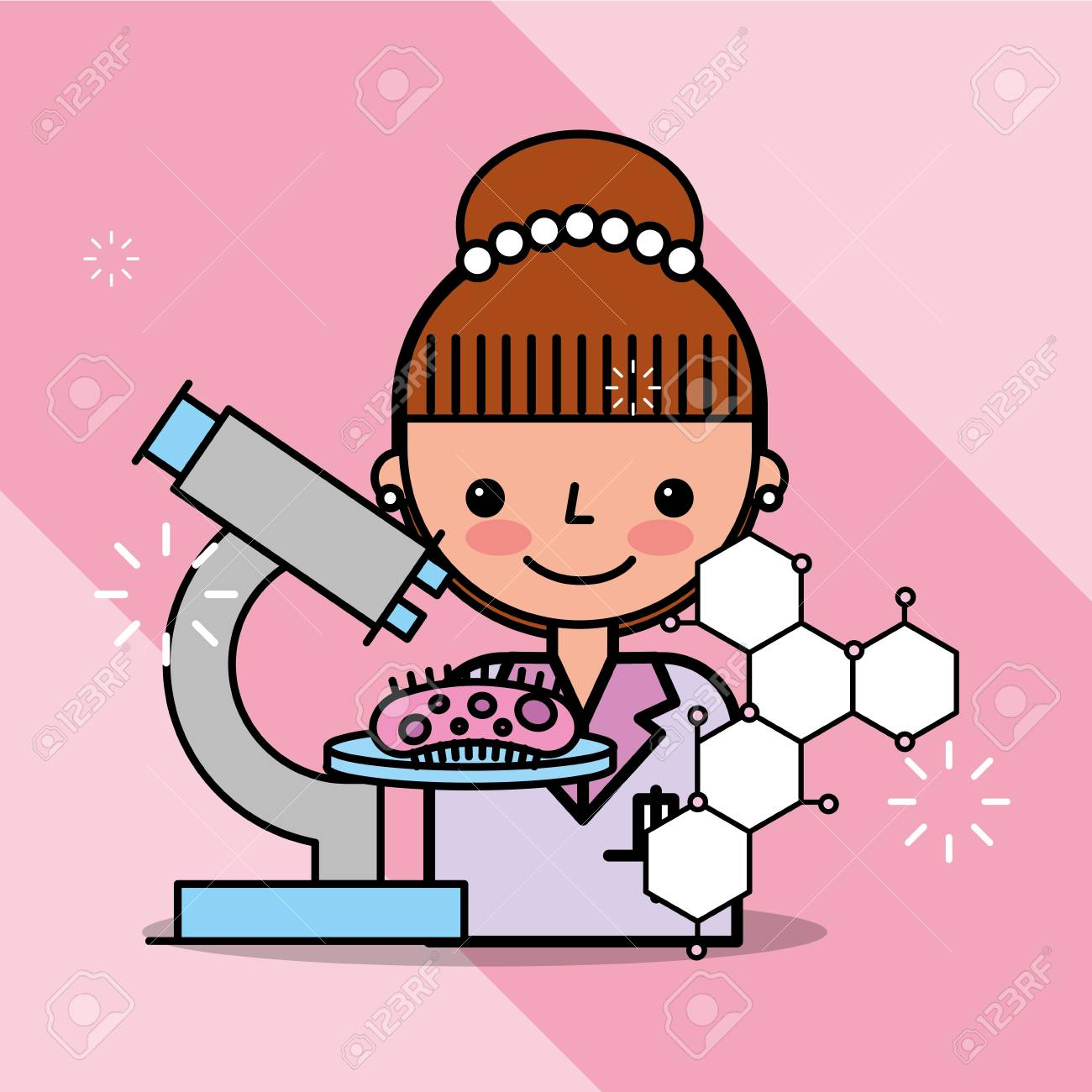 scientist woman cartoon analysismicroscope bacteria vector illustration royalty free cliparts vectors and stock illustration image 101047890 scientist woman cartoon analysismicroscope bacteria vector illustration