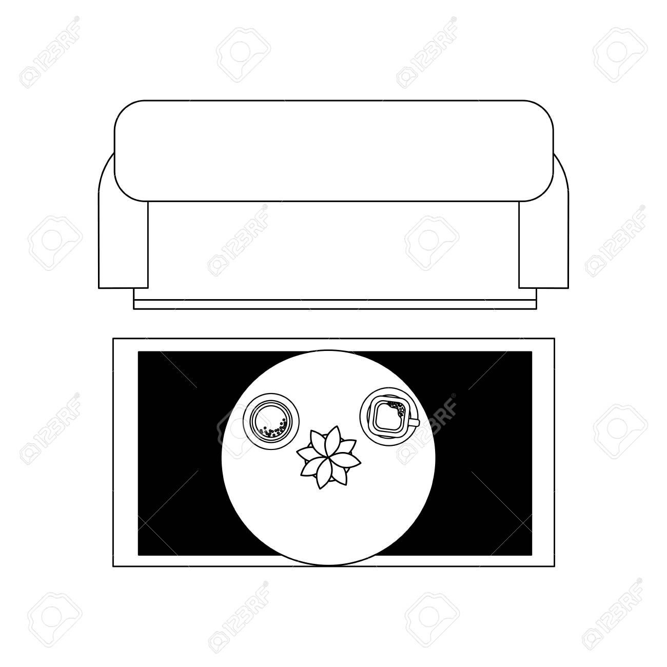 Living Room Sofa Table Coffee Cup Flower Carpet Top View Vector Royalty Free Cliparts Vectors And Stock Illustration Image 101382308