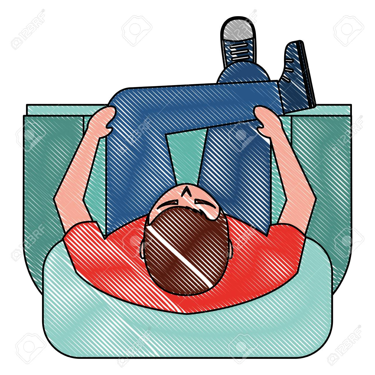 Man Is Sitting On Sofa View From Above Vector Illustration Royalty